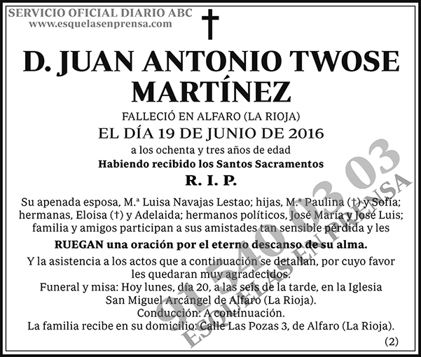 Juan Antonio Twose Martínez